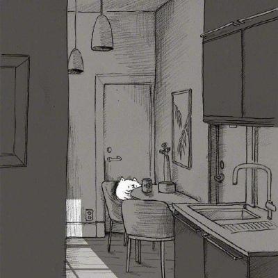 黑白插画/长大这两个字连偏旁都没有,一定很孤独。