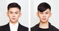 男士偏分短发两边剃光 侧背头和斜刘海对比图